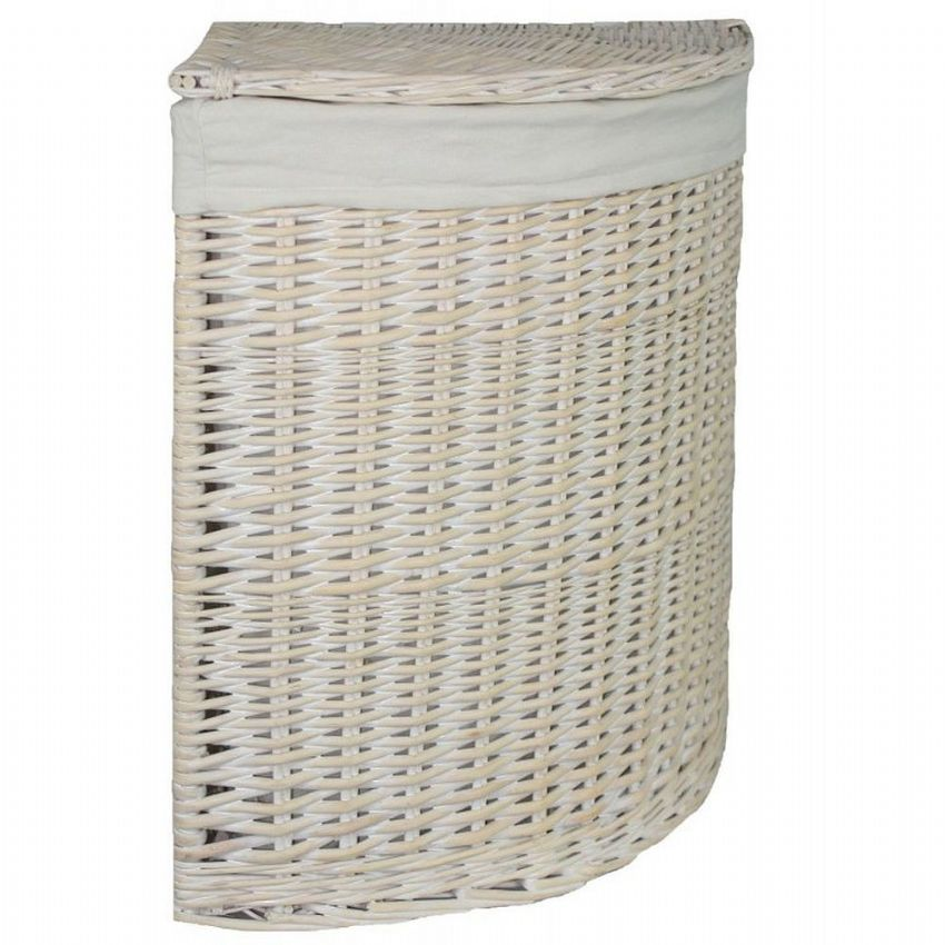 New England White Washed Corner Wicker Laundry Bin Basket Plain Large H 60 x W 46cm